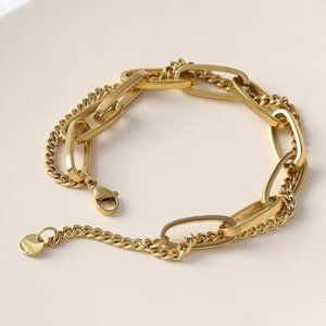 NEW 18K Gold Plated Chunky Link Chain Bracelet